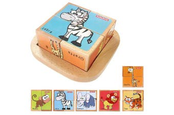 (forest animal) - Wooden Block Puzzles Toys Toddler Six Sides Painting Pattern Jigsaw Forest Animal Blocks Cube Puzzle Educational Toy Early Learning Kids Childrens Gifts 2-3 Year Old Girl Boy