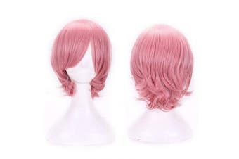 (Pink) - AneShe Short Straight Hair Cosplay Costume Wig Party Wig (Pink)