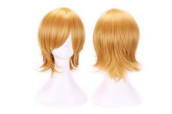 (Golden) - AneShe Men's Short Straight Layered Hair Anime Cosplay Costume Wig (Golden)