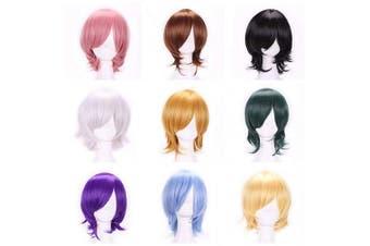 (White) - AneShe Men's Short Straight Layered Hair Anime Cosplay Costume Wig (White)
