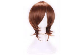 (Light Brown) - AneShe Men's Short Layered Hair Anime Cosplay Wig Party Wig (Light Brown)