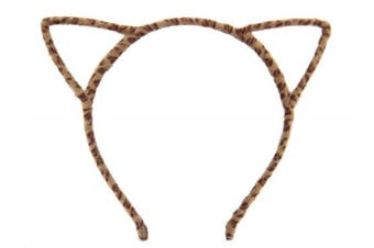 (Furry Brown Leopard) - Bonnie Z. Leonardo Furry Cat Ears Headband Brown Leopard