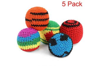 (5) - 5 Pieces Hacky Ball Sacks Multicoloured Woven Kickball Soft Knitted Kick Balls for Children and Beginners (5 Pieces)
