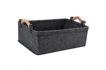 (Medium, light gray) - Collapsible Storage Basket Medium Rectangle Felt Fabric Baskets Storage Bins Organiser for Underwear Socks Bra Towel Toiletry Baby Products Storage Basket Light Grey