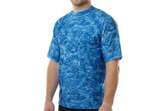 (Black Water, M) - Aqua Design Men Comfort Fit Rash Guard Short Sleeve Surf Swim Athletic UPF Sun Protection Clothing Rash Guard Top Shirt