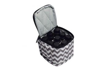 (Chevron Grey) - 9 Bottles Essential Oil Carrying Case Shockproof Essential Oils Organiser Travel Bag Suitable for 5ml,10ml,15ml Bottles or 10ml Roller Bottles with Portable Handle and Double Zipper (Chevron Grey)