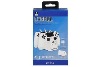 (White) - Playstation 4 Officially Licenced Dual Controller Stand with Twin USB Charging Cables (PS4)