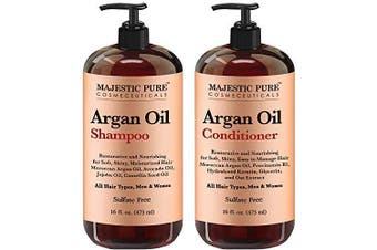 Argan Oil Shampoo and Conditioner, from Majestic Pure, Improve formula Sulphate Free, Vitamin Enriched, Volumizing & Gentle Hair Restoration Formula for Daily Use, for Men and Women, 470ml Each