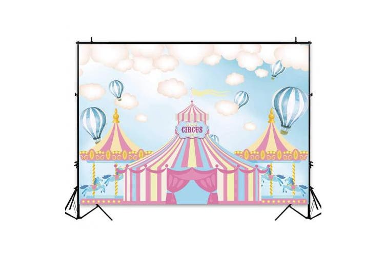 (2.1m x 1.5m, style6) - Funnytree 2.1m x 1.5m Pink Circus Tents Theme Party Backdrop Carnival Carousel Photography Background Girl Princess Birthday Newborn Baby Shower Decorations Photo Booth Cake Table Banner
