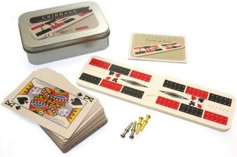 Brimtoy Travel / pocket cribbage board in tin with playing cards and pegs