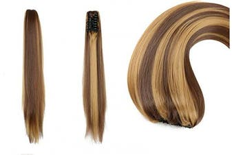 AUConer 60cm Long Pony tail Extensions Ombre two Tones Ponytail Hairpiece Like Natural hair style, add volume and length for your hair (60cm Straight, Dark Brown with Blonde)