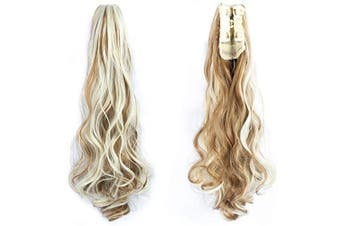 AUConer 48cm Curly Wave Highlight Ponytail Hair Extension Claw Clip Ponytail Extension in wedding party cosplay, Tow Tones Hairpiece Ponytail (48cm Curly, Light Brown mix Blonde)