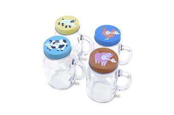 ((Farm Animals) 4 x 590ml + 4 Lids + 24 Straws) - 4 x 590ml Mason Jar Mugs with Handles, Lids, Reusable Straws | Farm Animal Stainless Steel Lids and Straws | Glass Drinking Cup Regular Mouth | BPA Free, Food Grade | Dishwasher Safe | 23 Bees