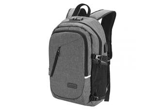 (Grey) - Winloop 35L Oxford Cloth Water Repellent USB Charging Port & Headphone Interface Anti-theft School Outdoor Hiking Camping Travel Laptop Backpack Rucksack Daypack knapsack with Reflective Strip