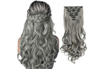 (22inch-Curly, Grey) - AUConer E10 Ash Grey double weft Clip in Hair Extensions Curly Wave Hairpiece in Natural look for party wedding cosplay special occasions, instant hair transformation (60cm -Curly, Grey)