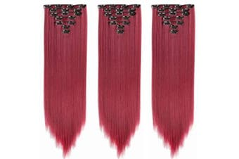 AUConer S11 Long Straight Red Coloured Hair Extension Stylish Hairpiece extensions to cosplay party wedding show special occasions for short thin hair, coloured hair extension (60cm -Straight, Burg)