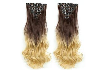 AUConer EC17 Mixed colour Brown with Ash Blonde Curly Wave Full Head Hair Extension weft clip in hairpiece Looks Natural Hair Style for Lady Women (60cm -Curly, Brown to Blonde)