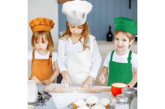 (Large, Color 2) - Chengu 6 Pieces Kids Chef Hat Apron Set, Boys Girls Aprons for Kids Adjustable Cotton Aprons Kitchen Bib Aprons with 2 Pockets for Kitchen Cooking Baking Wear (Large, Colour 2)