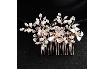 (Rose Gold) - AW Wedding Hair Comb Rhinestone Bridal Hair Clips Crystal Butterfly Head Piece Bridal Hair Accessories for Bride Bridesmaid, Rose Gold
