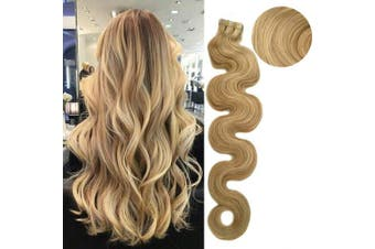 (46cm , H18/613 (Ash Blonde with Bleach Blonde)) - Remy Tape In Human Hair Extension Full Cuticle Seamless Wavy Skin Weft Hair Extension Highlighted Colour #18 Ash Blonde with #613 Blonde 46cm