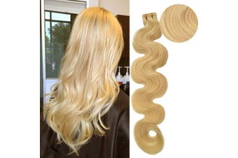 (46cm , #60 (Platinum Blonde)) - BESFOR Tape in Wavy Hair Extension Human Hair Platinum Blonde (#60) 46cm Long Body Wave 100% Remy Human Hair Bonding Double Sided Tape Seamless Skin Weft Hair 20pcs/40g