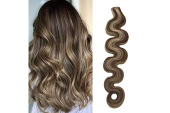 (50cm , H4/613 (Medium Brown with Bleach Blonde)) - 2.5g/pc 50cm Tape in Remy Human Hair Extensions Thick End Remy Hair Invisible Skin Weft PU Tape in Hair Extensions Medium Brown #4 Mixed Bleach Blonde #613 Real Wavy Hair 50g/set