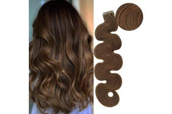 (60cm , #8 (Light Brown)) - 60cm Tape in Hair Extension Invisible Glue in Human Hair Extension 3.0g Per Piece 60g Seamless Reusable Skin Weft Ash Brown/Light Chestnut Brown #8 Remy Hair