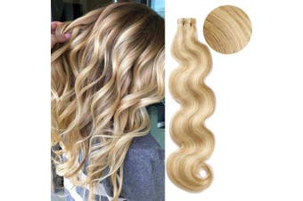 (46cm , H12/613 (Golden Brown with Strawberry Blonde)) - 46cm 40g/20pcs Tape in Hair Extension 100% Remy Human Hair Double Side Tape Seamless Skin Weft Natural Hair Extensions Long Wavy #12/613 Golden Brown Mix Bleach Blonde