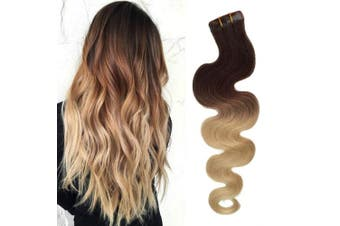 (46cm , O2/613 (Ombre Dark Brown with Bleach Blonde)) - BESFOR Tape in Hair Extensions Ombre Dark Brown to Bleach Blonde Seamless 100% Remy Human Tape Hair Extensions 40 Gramme Per Package 20 Piece 46cm