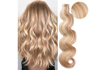 (46cm , H27/613 (Stawberry Blonde with Bleach Blonde)) - BESFOR Tape in Hair Extensions Balayage Hair #27 Honey Blonde Fading to #613 Bleach Blonde Highlights Seamless Remy Tape Hair Extensions Human Hair Pieces 46cm 20pcs/40g