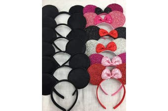 (6 Variety and 6 Plain Bow) - CLGIFT Set of 12 Minnie Mouse Ears, Disney Ears, Mickey Mouse Ears, Disney Theme Party, Boys and Girls One Size Fits All (6 Variety and 6 Plain Bow)