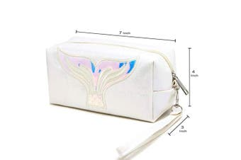 (MERMAID-WHITE) - by you Portable Makeup Case Cosmetic Bag Pouch Travel Organiser Purse With Zipper (MERMAID-WHITE)