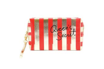 (STRIPED-RED) - by you Portable Makeup Case Cosmetic Bag Pouch Travel Organiser Purse Wristlet With Zipper (STRIPED-RED)