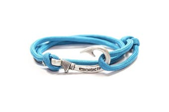 (Sea Blue) - Chasing Fin Adjustable Bracelet 550 Military Paracord with Fish Hook Pendant