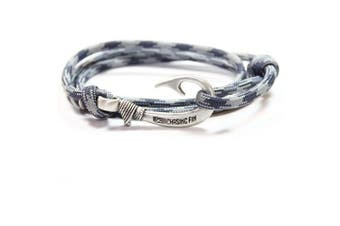 (Navy/Gray) - Chasing Fin Adjustable Bracelet 550 Military Paracord with Fish Hook Pendant
