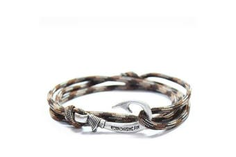 (Brown Camo) - Chasing Fin Adjustable Bracelet 550 Military Paracord with Fish Hook Pendant