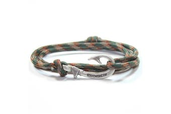 (Woodland Camo) - Chasing Fin Adjustable Bracelet 550 Military Paracord with Fish Hook Pendant