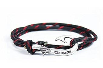 (Red Thin Line) - Chasing Fin Adjustable Bracelet 550 Military Paracord with Fish Hook Pendant