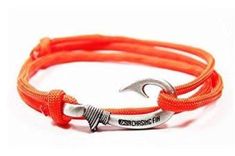 (Orange) - Chasing Fin Adjustable Bracelet 550 Military Paracord with Fish Hook Pendant