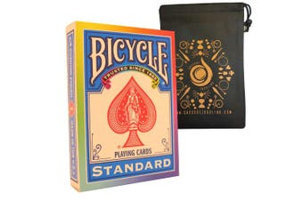 Rainbow Bicycle Rider Back Playing Cards - Includes Cascade Card Bag