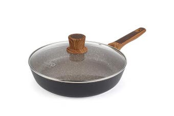 Frying Pans with lid Saute Induction Skillet Cooking Fry Stone with Ultra Nonstick Granite Coating 28cm