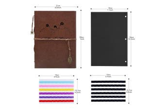 (Penguin) - Scrapbook Photo Album, AIOR DIY Baby Memory Book Vintage Leather Wedding Guest Book with 60 Black Pages, Travel Vacation Gifts Birthday Anniversary Presents for Women Men Kids, 28cm x 21cm , Penguin