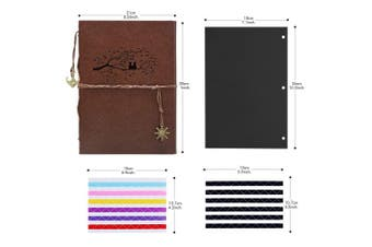 (Owl) - Scrapbook Album, AIOR Vintage Leather Photo Album DIY Memory Book Self Adhesive Wedding Guest Book, 28cm x 21cm 60 Pages, Vacation Gifts Birthday Anniversary Presents for Women Mom Men, Owl Brown