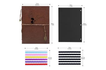 (Girl) - Scrapbook Photo Album, AIOR DIY Self Adhesive Memory Book Vintage Leather Wedding Guest Book,28cm x 21cm 60 Black Pages, Travel Vacation Gifts Birthday Presents for Women Men Kids, Girl Brown