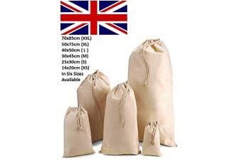 (10, X Small(14x20)CM) - IMFAA Plain Drawstring/Sack/Stocking/Storage/Laundry/Muslin 100% Cotton Shopping Bags in 6 Sizes(10, X Small(14x20) CM)