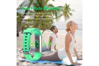 (Green) - Lintelek Fitness Tracker, Slim Activity Tracker with Heart Rate Monitor, IP67 Waterproof Step Counter, Calorie Counter, Pedometer for Kids Women and Men