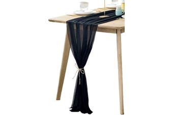 (Black) - BOXAN Gorgeous Black Silky Sheer Table Runner 80cm x 300cm for Romantic Wedding Decor, Chic Bridal & Baby Shower, Christmas Party Birthday Decorations