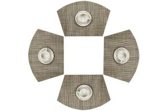 SHACOS Round Table Placemats Wedge Placemats Set of 4 Heat Resistant Table Mats Washable (4, Bamboo Green)