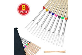(With bamboo skewers) - COVVY BBQ Marshmallow Roasting Stick Set of 8 Telescoping Extendable Rotating Smores Skewers & Hot Dog Fork 80cm Kids Camping Campfire Fire Pit Accessories, 8-Piece (With bamboo skewers)