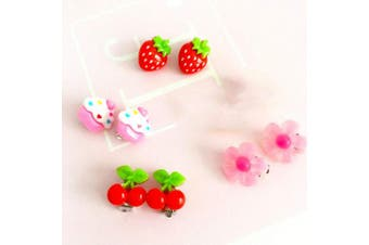 YeahiBaby 4 Pair Lovely Kids Clip-on Earrings Girls Play Ear Clip Decorations Party Favours